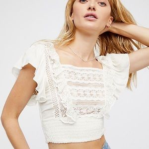 NWT Free People lace crop top white large